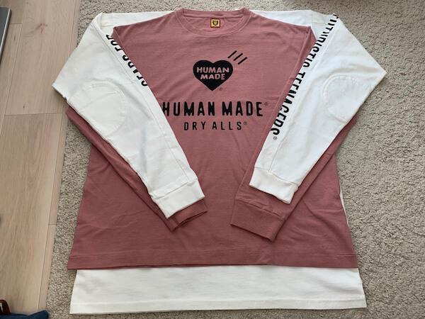 human madeのロンTの着丈比較