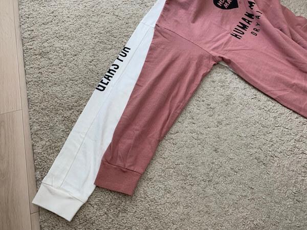human madeのロンTの袖比較